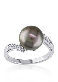 Belk  Co.  10k White Gold Black Tahitian Pearl and Diamond Ring