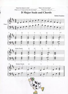 D Major Scale and Chords, Let's Play Music Lets Play Music, Music For Kids, Flute Sheet Music, Piano Music, Piano Lessons, Music Lessons, Scale Music, Music Theory Worksheets, Kids Piano