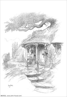 A rather more rustic interpretation of Bag End - in this case the contractual obligation version...  Having designed Bag End for the Lord of the Rings movies, I am not really allowed to re-use ideas developed for the films. (This is annoying only when you happen to have a GOOD idea for once...) But, the delightful aspect of Middle-Earth is that one can go back forever