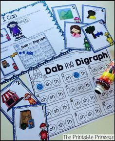 Beginning and ending digraph center. Use a bingo dabber to dab the digraph in the word!