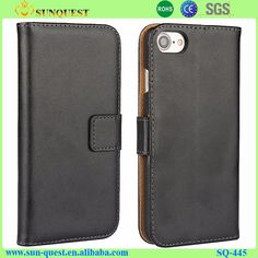 Mobile Phone Real Genuine Leather Case For iPhone 7 Wallet Folio Book Style