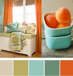 The apricot/peachy orange with celadon/chartreuse granny smith apple green & a jade/blue/turquoise & a muted pavilion grey may be the ageless diet color palette