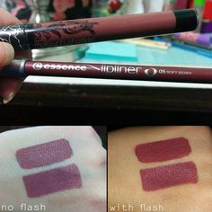 makeupbysharleen shared these awesome swatches on our #dupethat tag of KVD's Lolita compared to Essence Soft Berry lip liner