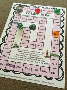 Halloween math board game from Halloween Math Games Second Grade by Games 4 Learning for bringing some Halloween fun into the classroom. This collection of Halloween math games contains 14 printable games. $