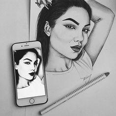 J a s m i n n ™ Black And White Drawing, Black Art, Tumblr Outline, Sketch Inspiration, Art Hoe, Dope Art, Painting & Drawing, Figure Drawing, Urban Art