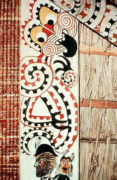 Rongopai Marae, one of the earliest recordings of painting carved houses, Marae, rather than decorating them with carvings. The advent of European artistic influence and contact. Maori Patterns, Maori Designs, New Zealand Art, Nz Art, Maori Art, Kiwiana, Indigenous Art, Figurative, Advent