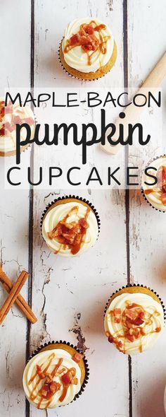 These Maple Bacon Pumpkin Cupcakes are a fun twist on a fall treat. Moist pumpkin cupcakes, made with bacon fat, get frosted with decadent maple cream cheese icing and topped with salty, crisp bacon.