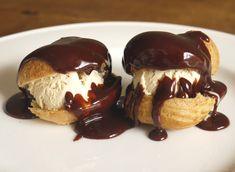 Coffee Ice Cream Profiteroles with Hot Chocolate Caramel Sauce | http://thelittleloaf.wordpress.com