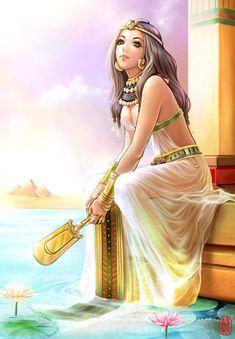 f Cleric Robes Temple urban desert Cleopatra med Egyptian Fashion, Egyptian Women, Egyptian Goddess, Fantasy Girl, Fantasy Women, Anime Egyptian, Egypt Art, Manga Girl, Ancient Egypt
