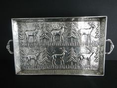 Vintage Silver Plate Tray Deer Pine Tree Rustic Lodge Cabin India Heavy Brass