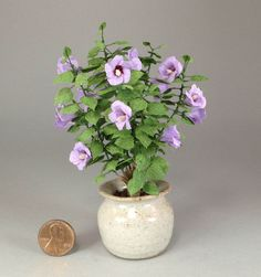 Dollhouse miniature 1/12th scale lav hibiscus bush by Mary Kinloch IGMA fellow