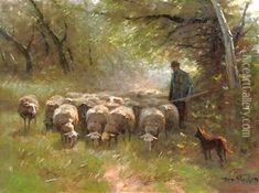 Grazing sheep oil painting reproduction by Francois Pieter ter Meulen - NiceArtGallery.com