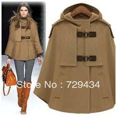 Winter poncho cloak women outerwear/Big hood mantle type wool spliced thick women's coats new 2013 supernova sale  free shipping 1921,99 руб.