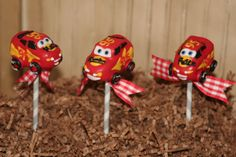 McQueen cake pops by Mom's Killer Cakes & Cookies
