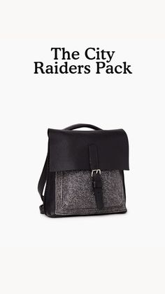 Our City Raiders Pack is a mini update of our iconic Raiders Pack that's perfect for your everyday adventures. Inspired by our Salt & Pepper sweats, it is handcrafted in Canada from our Salt & Pepper leather and trimmed with Cervino leather. This style is unlined and features a front flap with a magnetic buckle strap closure. A versatile bag, it can be styled three ways: handheld, crossbody or as a backpack.