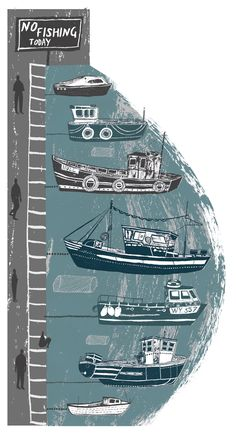 Alice Pattullo illustration for Country Living Boat Illustration, Bass Boat, Fishing Life, Fishing Boats, Under The Sea, Illustrations Posters, Seaside, Illustrators, Nautical