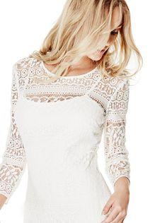 Clark Three-Quarter Sleeve Lace Dress | shop.GUESS.com