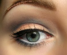 Soft Gray & Peach Eye Makeup Look w/ a subtle Black Cat Eye on upper lashline, White eyeliner on the water-line Orange Eyeshadow Looks, Grey Eyeshadow, Color Eyeliner, Eyeshadow Ideas, Peach Eye Makeup, Skin Makeup, Yellow Makeup, Beginner Eyeshadow, Girl With Green Eyes