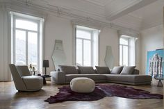 #Gary #Modular #Sofa : #Rigorous #design and #attention to the #details characterize the modular sofa GARY. The #model has a seat which expresses the maximum #comfort in addition to a package worthy of a #high #fashion #outfit. #Fabric and #leather covers. Vivien Leather #armchair, Sophia #Pouff, Lauren #Mirror, Judy #Table and Natalie #lamp. Discover more on - www.controlucehome.com
