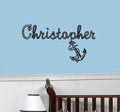Wall Decals Custom Name Baby Personalized Name Nursery Kids Boys Girls Rope Anchor Wall Vinyl Decal Stickers Bedroom Murals -- See this great product.