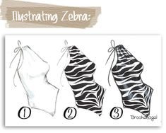 Illustrating zebra with Copics Fashion Drawing Tutorial, Fashion Illustration Tutorial, Fashion Model Drawing, Fashion Drawing Dresses, Fashion Illustration Dresses, Fashion Design Drawings, Fashion Sketches, Dress Sketches, Fabric Drawing