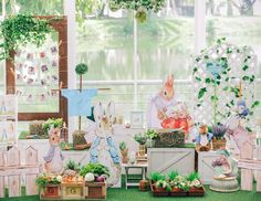 "For picture display Beatrix Potter Peter Rabbit / Birthday ""Beatrix Potter Peter Rabbit birthday party"" Peter Rabbit Party, Peter Rabbit Nursery, Peter Rabbit Birthday, Bunny Birthday, 1st Birthday Parties, Birthday Ideas, Rabbit Garden, Rabbit Photos, Benjamin Bunny"