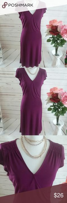Ann Taylor Loft Size 8 PURPLE Career Dress This is an Ann Taylor Loft purple Show rap career dress. It is ladies size 8. It is in good preowned condition and so without flaws or stains it is unlined. That fabric content is 65% rayon and 35% polyester. Ann Taylor Dresses Midi