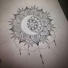 40 Beautiful Mandala Drawing Ideas & How To - Brighter Craft Mandala Drawing, Mandala Tattoo, Arm Tattoo, Body Art Tattoos, New Tattoos, Sleeve Tattoos, Tatoos, Jasmin Tattoo, Moon Sun Tattoo