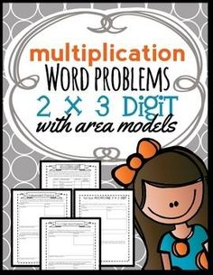 2 x 3 Digit Multiplication Word Problems: Area Models!  This no-prep lesson packet is ready to print and use.  It builds computational skills as well as conceptual understanding.  5.NBT.B.5