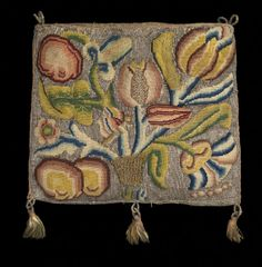 Linen embroidered sweet bag, English, 1600–30  © CSG CIC This small bag is made of linen embroidered with multicoloured silk and silver threads with a pattern of a bird, butterfly, flowers and leaves on one side and a butterfly, flowers, fruit and leaves on the other side. The motifs worked silk threads in tent stitch against a background worked in silver threads in Gobelin stitch. The silver thread loops at the top for the drawstring would have originally held a drawstring that is now… Jacobean Embroidery, Hand Embroidery, Vintage Bags, Vintage Sewing, Lace Beadwork, Glasgow Museum, Tent Stitch, Sweet Bags, Embroidery On Clothes