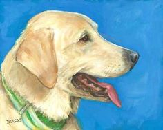 """YELLOW LABRADOR RETRIEVER PROFILE  8x10"""" ORIGINAL PAINTING BY DOTTIE DRACOS    This is the original acrylic 8x10 painting, which is on 1/8""""-thick mdf 8x10"""" hand-gessoed hardboard, one of my favorite p"""