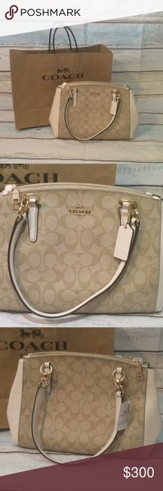 ⭐️BRAND NEW⭐️ Brand NEW COACH purse never been USED!!! -13 inches long 8 inches height -has a long strap if not wanting to do shoulder strap -on each side there is a zipper to separate your items - big open spot in the middle with 2 side pouches within the middle -many different compartments  - more of a cream then a white  -in STYLE  -very roomie Super cute PURSE, offers welcome!⭐️⭐️ and with this purchase you can get free shipping!! Any other questions feel free to comment below☺️😃 Coach…