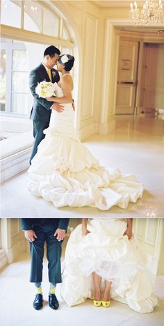 So cute! Yellow and gray wedding.