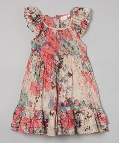 Look at this #zulilyfind! Cream Floral Angel-Sleeve Dress - Toddler & Girls by Yo Baby #zulilyfinds