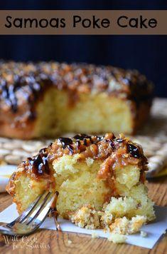 Samoas Poke Cake | willcookforsmiles.com