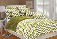 Marlo Lorenz 4892 Chevron Microplush Comforter Set, Clear Blue, Twin - bedding like this, but one set lime green and one set gray Grey And White Bedding, Green Bedding, Console, Turquoise Bedding, Dream Bedroom, Master Bedroom, Master Suite, Bedroom Decor, Houses