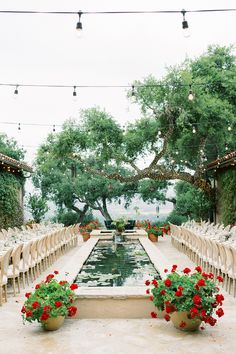 """From the editorial """"A Breathtaking Garden Wedding Inspired by a Butterfly & Floral Monique Lhuillier Gown."""" The reception tables consisted of two family-style rows flanking the Koi pond with textured Cane back chairs, organic and romantic florals, timeless china, and vintage brass candlesticks.   Photography: @lunademarephoto  #weddingreception #gardenwedding #ojaiwedding #weddingreceptioninspiration #weddingideas #weddingdesign"""