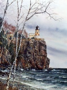 Susan Amidon Split Rock Lighthouse 15 x 20 Landscape Photography, Nature Photography, Split Rock Lighthouse, Lighthouse Painting, Lighthouse Pictures, Beacon Of Light, Lake Superior, Places To See, Beautiful Places
