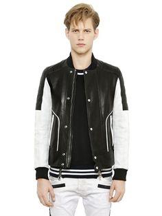 Two Tone Nappa Leather Bomber Jacket