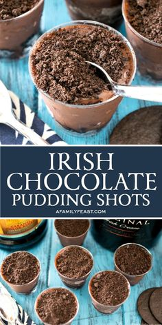 Irish Chocolate Pudding Shots are a grown-up dessert with a delicious minty-chocolate kick. The post Irish Chocolate Pudding Shots appeared first on Dessert Factory. Pudding Shot Recipes, Jello Pudding Shots, Jello Shot Recipes, Alcohol Drink Recipes, Dessert Recipes, Pudding Desserts, Cheesecake Desserts, Raspberry Cheesecake, Alcohol Shots