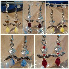 #earrings #beads #angels #wings #handmade