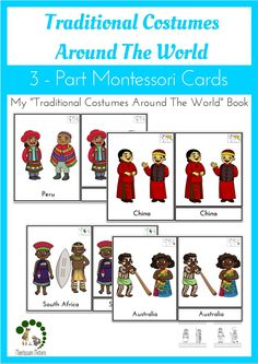 Traditional Costumes Around The World - 3-Part Montessori Cards - read more about it in the post. Montessori Printable Activities for preschool children