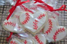 Need favors for your guests? How about these For Love of the Game Baseball Cookies in the shape of a heart by LunchBoxLane on Etsy