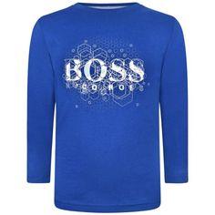 BOSS Boys Blue Long Sleeve Jersey Top