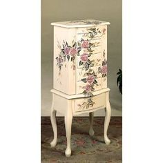 Floral Design White Finish Wood JEWELRY ARMOIRE $169.87