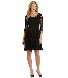 Leslie Fay Floral Lace FitandFlare Dress #Dillards