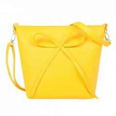 Sweet Solid Color and Bow Design Women's Crossbody Bag