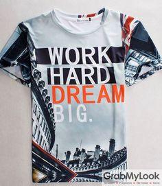 GrabMyLook Work Hard Dream Big 3D Short Sleevs Mens T-Shirt Summer Beach Wear