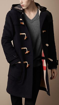 AQUASCUTUM Duffle Coat Navy http://www.designerchildrenswear.com ...