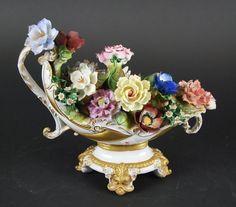 Italian Porcelain Flower Filled Urn